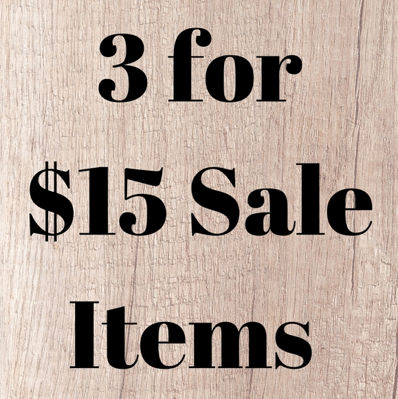 3 for $15 sale item section